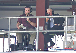Wrexham, Wales - Saturday, July 7, 2007: Liverpool web site commentator Steve Hunter with former manager Roy Evans during a preseason match at the Racecourse Ground. (Photo by David Rawcliffe/Propaganda)
