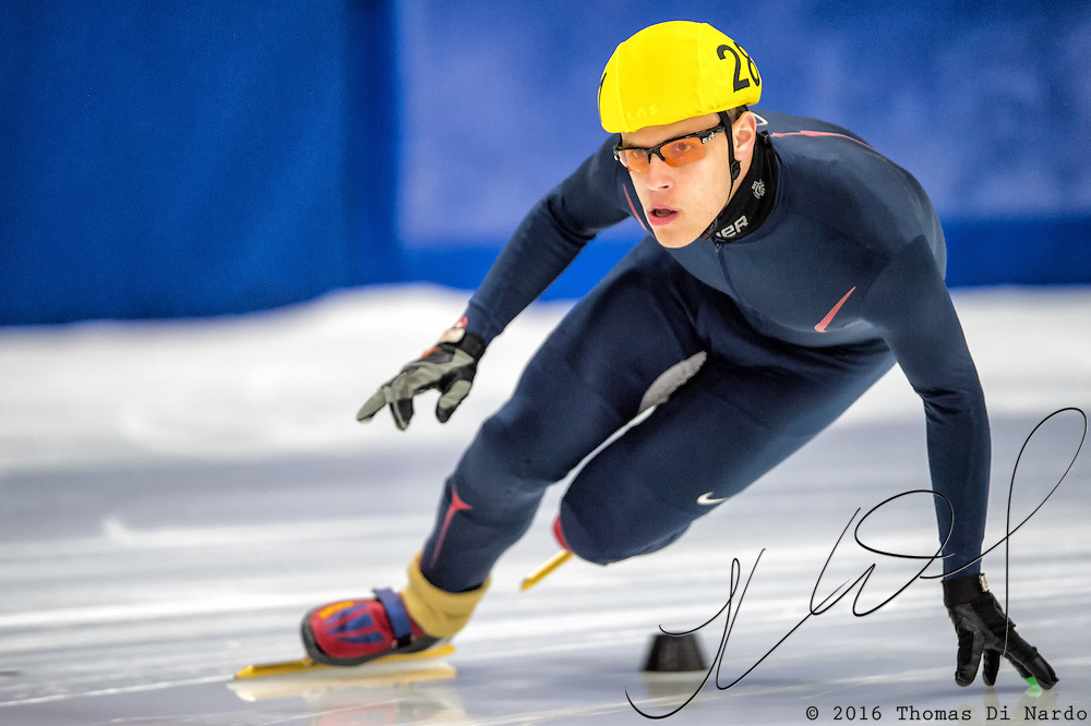 March 18, 2016 - Verona, WI - Alexander Brewer, skater number 281 competes in US Speedskating Short Track Age Group Nationals and AmCup Final held at the Verona Ice Arena.