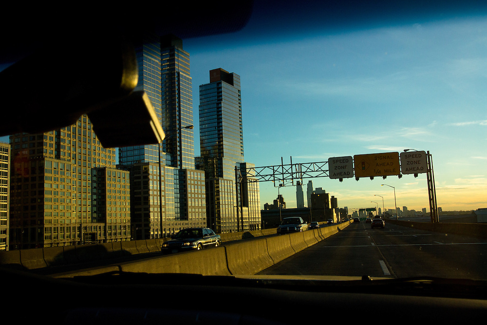 On a trip to the city to home-deliver food products, Kate drives down the West Side Highway in Manhattan.