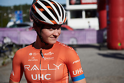 Heidi Franz (USA) arrives for sign on at Ladies Tour of Norway 2019 - Stage 4, a 154 km road race from Svinesund to Halden, Norway on August 25, 2019. Photo by Sean Robinson/velofocus.com