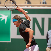 PARIS, FRANCE May 28.  Alexander Zverev of Germany throws his racquet to the ground during his match against John Millman of Australia on Court Philippe-Chatrier in the Men's Singles first round match at the 2019 French Open Tennis Tournament at Roland Garros on May 28th 2019 in Paris, France. (Photo by Tim Clayton/Corbis via Getty Images)