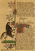 Geoffrey Chaucer (c1345-1401) English poet. Equestrian portrait of Chaucer from the Ellesmere manuscript of his 'Canterbury Tales' (14th century).
