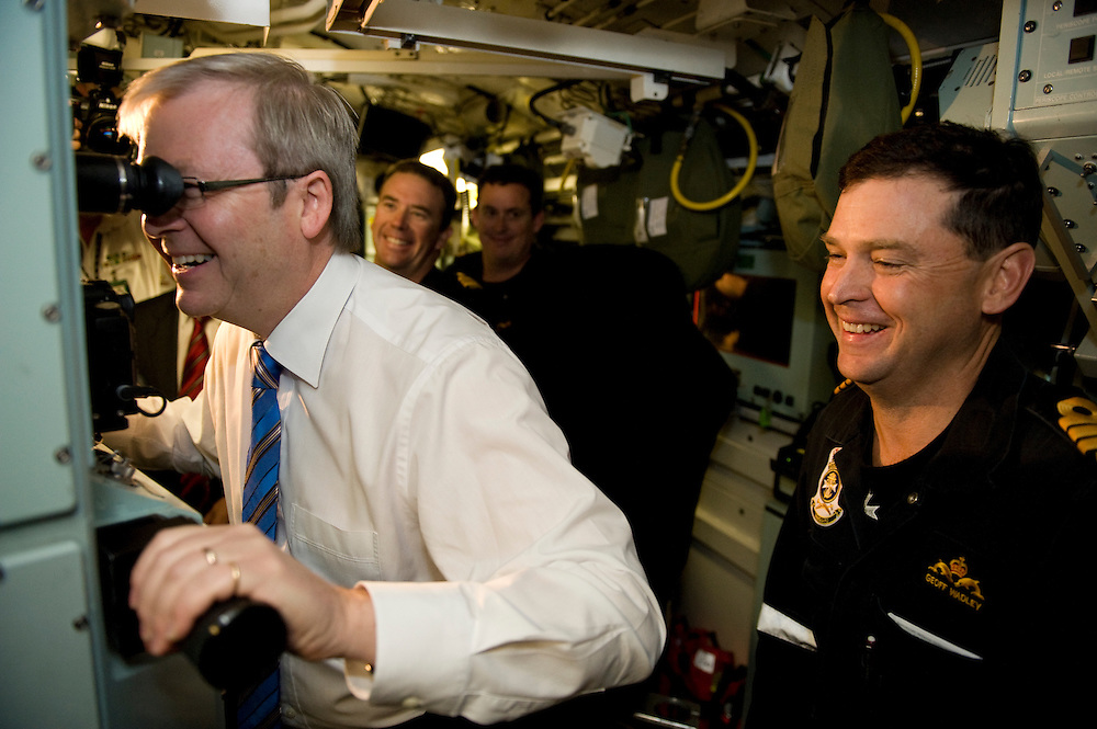 Australian Prime Minister Kevin Rudd aboard the submarine HMAS Collins at Garden Island, Western Australia.