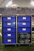 INDIANAPOLIS - DECEMBER 4:  Indianapolis Colts equipment locker on the sidelines for the game against the Tennessee Titans on December 4, 2005 at the RCA Dome in Indianapolis, Indiana. The Colts defeated the Titans 35-3. ©Paul Anthony Spinelli
