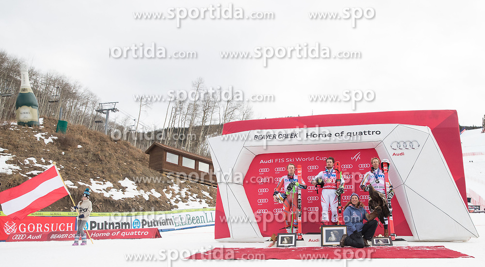 03.12.2017, Beaver Creek, USA, FIS Weltcup Ski Alpin, Beaver Creek, Riesenslalom, Herren, Siegerehrung, im Bild v.l. Henrik Kristoffersen (NOR, 2. Platz), Marcel Hirscher (AUT, 1. Platz), Stefan Luitz (GER, 3. Platz) // f.l. second placed Henrik Kristoffersen of Norway race winner Marcel Hirscher of Austria third placed Stefan Luitz of Germany during the winner Ceremony for the men's Giant Slalom of FIS Ski Alpine World Cup in Beaver Creek, United Staates on 2017/12/03. EXPA Pictures © 2017, PhotoCredit: EXPA/ Johann Groder