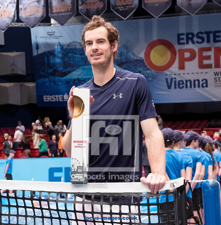 Andy Murray with the trophy during the final of the Erste Bank Open at Wiener Stadthalle, Vienna, Austria.<br /> Picture by EXPA Pictures/Focus Images Ltd 07814482222<br /> 30/10/2016<br /> *** UK &amp; IRELAND ONLY ***<br /> EXPA-PUC-161030-0480.jpg