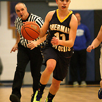 Sherman New York High School girls basketball star Ellen(Ellie) Reed moves the ball up court aginst Panama New York during a girls section 6 basketball game 2-4-13 photo by Mark L. Anderson/ www.marklandersonphotography.com