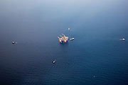 "Chevron's deepwater offshore oil platform ""JACK/ST. MALO"" being positioned in the Gulf of Mexico by Crowley Maritime Corporation's OCEAN CLASS Tugs. (Aerial Photography by Tim Burdick)"