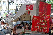 Tel Aviv, Israel, Three weeks after the start of the protest Israelis from all walks of life are living in tents in the city centres centre demanding from the government solutions for the middle class, housing shortage and the high cost of living. Photographed in Tel Aviv Israel