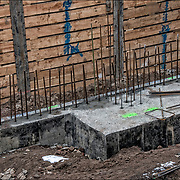 Foundation with rebar on the top for new building.<br />