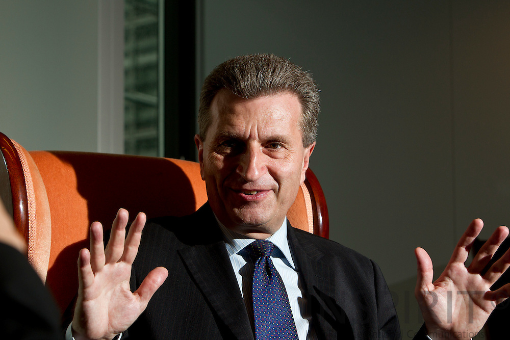BRUSSELS - BELGIUM - 26 MAY 2010 -- Günther (Gunter) OETTINGER, EU Commissioner for Energy during an interview in his office. PHOTO: ERIK LUNTANG / INSPIRIT Photo.