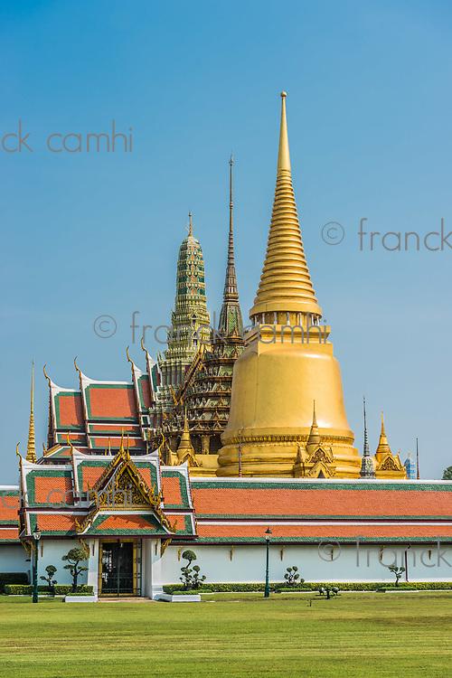 Grand Palace courtyard western porch Wat Phra Kaew temple of the emerald buddha at Bangkok Thailand