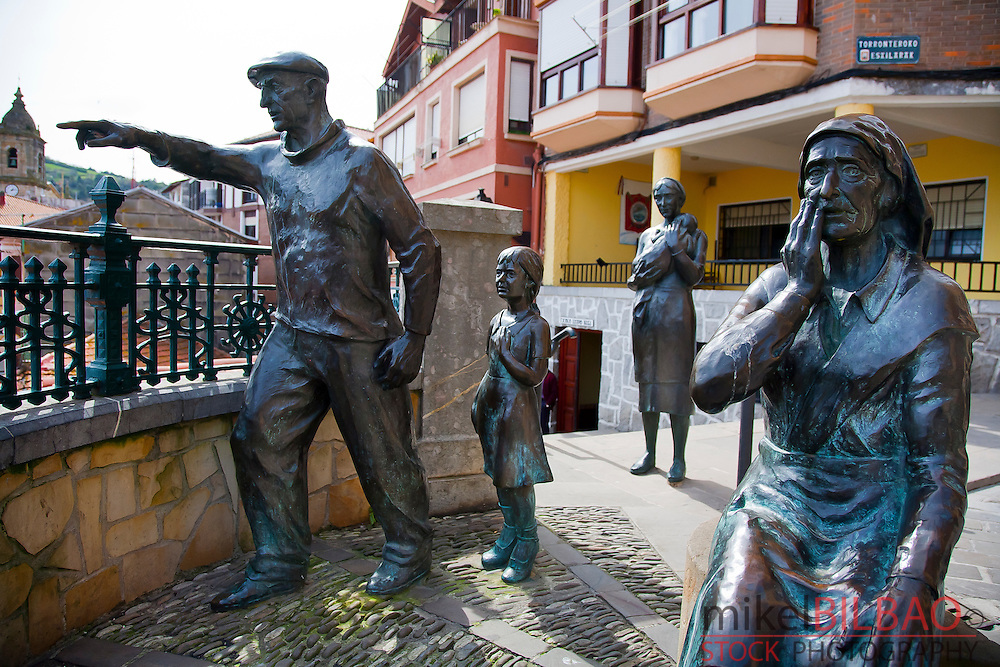 Sculptures.<br /> Bermeo, Biscay, Basque Country. Spain.