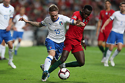 September 10, 2018 - Lisbon, Portugal - Italy's defender Manuel Lazzari (L) vies with Portugal's forward Bruma during the UEFA Nations League A group 3 football match Portugal vs Italy at the Luz stadium in Lisbon, Portugal on September 10, 2018. (Credit Image: © Pedro Fiuza/ZUMA Wire)