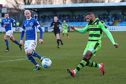 Forest Green Rovers Dan Wishart(17) crosses the ball during the FA Trophy match between Macclesfield Town and Forest Green Rovers at Moss Rose, Macclesfield, United Kingdom on 4 February 2017. Photo by Shane Healey.