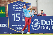Andrea Pavan (ITA) plays his tee shot on the 15th hole during the third round of the Aberdeen Standard Investments Scottish Open at The Renaissance Club, North Berwick, Scotland on 13 July 2019.