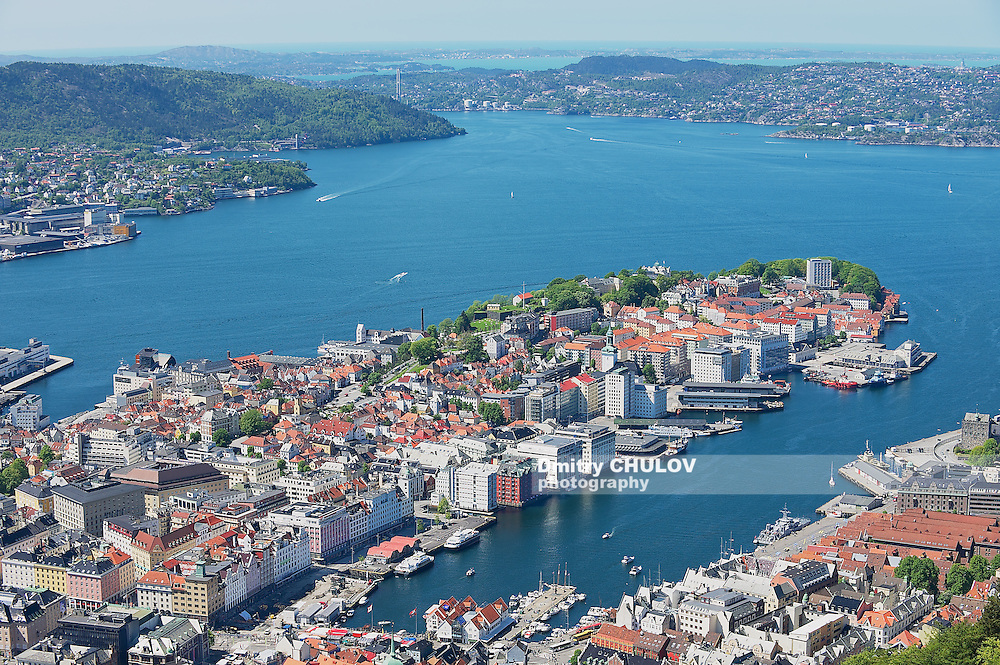 BERGEN, NORWAY - JUNE 06, 2010: View to the buildings and harbor from Floyen hill in Bergen, Norway.