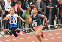 Shauna Charles (Claremorris) and Caoilfhionn Tighe (Quay) competing in the Mixed U10 100 metres at the Mayo Community Games.<br /> Pic Conor McKeown