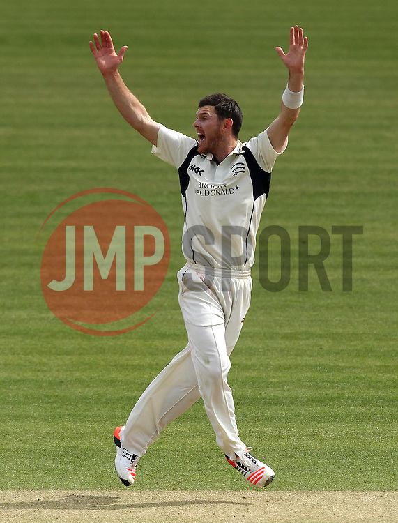 Middlesex's James Harris appeals for a caught behind - Photo mandatory by-line: Robbie Stephenson/JMP - Mobile: 07966 386802 - 04/05/2015 - SPORT - Football - London - Lords  - Middlesex CCC v Durham CCC - County Championship Division One