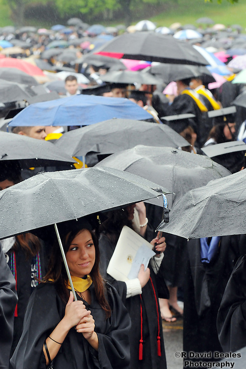 Monmouth University students waiting in the rain to begin the 2008 commencement.