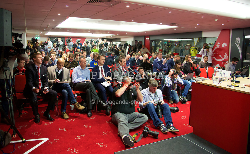 LIVERPOOL, ENGLAND - Tuesday, October 21, 2014: A packed media room at Anfield for Liverpool's press conference ahead of the UEFA Champions League Group B match against Real Madrid. (Pic by David Rawcliffe/Propaganda)