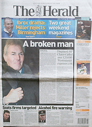 The Herald Front Page 08/01/2011 - image of fromer Labour MP David Chaytor.Picture by Mark Larner/Central News. Picture shows David Chaytor arriving at Southwark Crown Court at 07.55am. 07/01/2011...Mr Chaytor, former Labour MP for Bury North, was jailed today for false accounting on his expense claims.