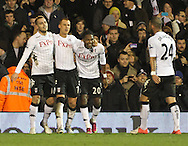 Picture by David Horn/Focus Images Ltd +44 7545 970036.30/01/2013.Mladen Petric, Steven Sidwell, Hugo Rodallega and Ashkan Dejagah of Fulham celebrate Mladen Petric's goal during the Barclays Premier League match at Craven Cottage, London.