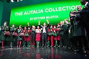 Presentation of new Alitalia staff uniform at Alitalia Day, in Milan, May 19, 2016. The new uniforms are created by fashion designer Ettore Bilotta (center). &copy; Carlo Cerchioli<br /> <br /> Presentazione delle nuove divise per il personale Alitalia all'Alitalia Day, Milano 19 Maggio 2016. Le nuove divise sono state create dallo stilista Ettore Bilotta (centro).