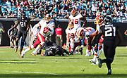 Dec 16, 2018; Jacksonville, FL, USA; Washington Redskins quarterback Josh Johnson (8) runs for yardage during an NFL game against the Jacksonville Jaguars at TIAA Bank Field. The Redskins beat the Jaguars 16-13. (Steve Jacobson/Image of Sport)