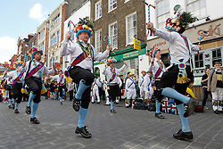 © Licensed to London News Pictures. 12/05/2012, London, UK.  Earlsdon Morris Men dance in China Town in London as Morris men from around the country gather in London for a Westminster Morris Men Day of Dance, Saturday, May 12, 2012. Photo credit : Sang Tan/LNP