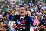 "13 JANUARY 2014 - BANGKOK, THAILAND:  An anti-government protestor cheers during a rally in the Asoke intersection in Bangkok. Tens of thousands of Thai anti-government protestors took to the streets of Bangkok Monday to shut down the Thai capitol. The protest was called ""Shutdown Bangkok"" and is expected to last at least a week. The Shutdown Bangkok protest is a continuation of protests that started in early November. There have been shootings almost every night at different protests sites around Bangkok, including two Sunday night, but the protests Monday were peaceful. The malls in Bangkok stayed open Monday but many other businesses closed for the day and mass transit was swamped with both protestors and people who had to use mass transit because the roads were blocked.   PHOTO BY JACK KURTZ"