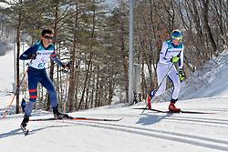 DUBOIS Thomas FRA B1 Guide: SAUVAGE Bastien, INOLA Inkki FIN B3 Guide: SORMUNEN Vili competing in the ParaSkiDeFond, Para Nordic 10km during the PyeongChang2018 Winter Paralympic Games, South Korea.