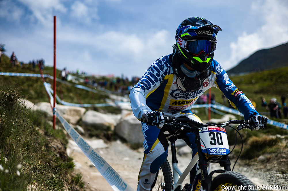 Nevis Range, Fort William, Scotland, UK. 4th June 2016. Samuel Hill of Australia in action during qualifying. The worlds leading mountain bikers descend on Fort William for the UCI World Cup on Nevis Range.
