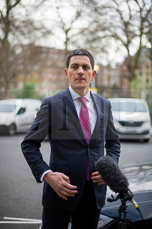 © Licensed to London News Pictures. 03/02/2016. London, UK. President and CEO, International Rescue Committee DAVID MILIBAND during a television interview after speaking at Chatham House in London about the current refugee crisis, five years on from the beginning of the Syria conflict.  Photo credit: Ben Cawthra/LNP