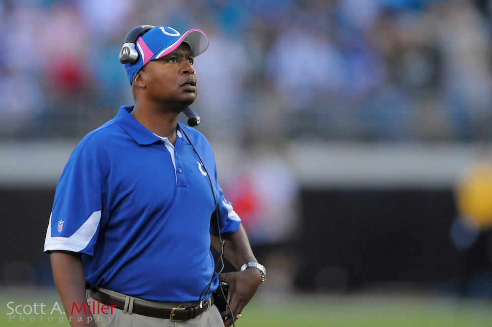 Oct. 3, 2010; Jacksonvile, FL, USA; Indianapolis Colts head coach Jim Caldwell during the second half of the Colts 31-28 loss to the Jacksonville Jaguars at the EverBank Field. ©2010 Scott A. Miller