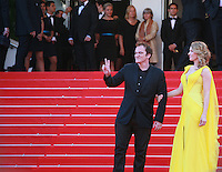 Quentin Tarantino, Uma Thurman, at Sils Maria gala screening red carpet at the 67th Cannes Film Festival France. Friday 23rd May 2014 in Cannes Film Festival, France.