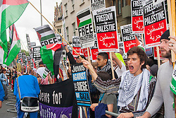 "London, July 5th 2014. Hundreds protest near the Israeli embassy in London against the ongoing occupation of Palestine and the west's support of ""Israel's collective punishment of Palestinians""."