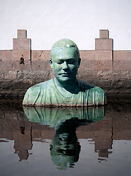 Modern art sculpture in canal in centre of Boras in Sweden