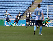 Coventry City Striker Adam Armstrong   scores during the Sky Bet League 1 match between Coventry City and Bury at the Ricoh Arena, Coventry, England on 13 February 2016. Photo by Chris Wynne.