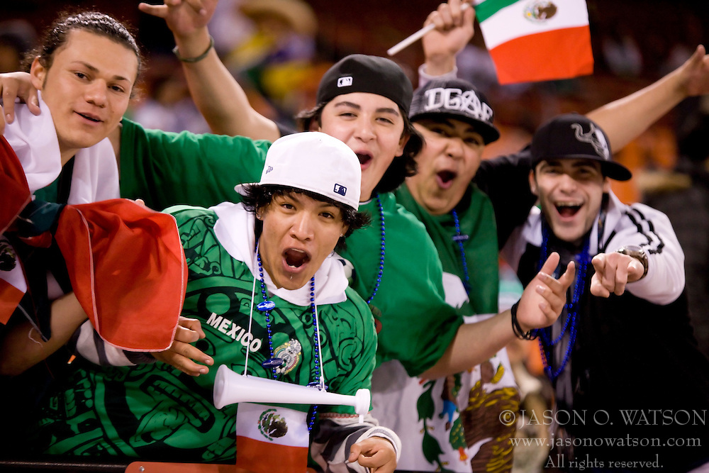 February 24, 2010; San Francisco, CA, USA;  Mexican fans cheer before the soccer game against Bolivia at Candlestick Park. Mexico defeated Bolivia 5-0.