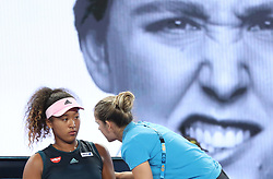 MELBOURNE, Jan. 17, 2019  Naomi Osaka of Japan reacts during the women's singles second round match against Tamara Zidansek of Slovenia at the Australian Open in Melbourne, Australia, Jan. 17, 2019. (Credit Image: © Bai Xuefei/Xinhua via ZUMA Wire)