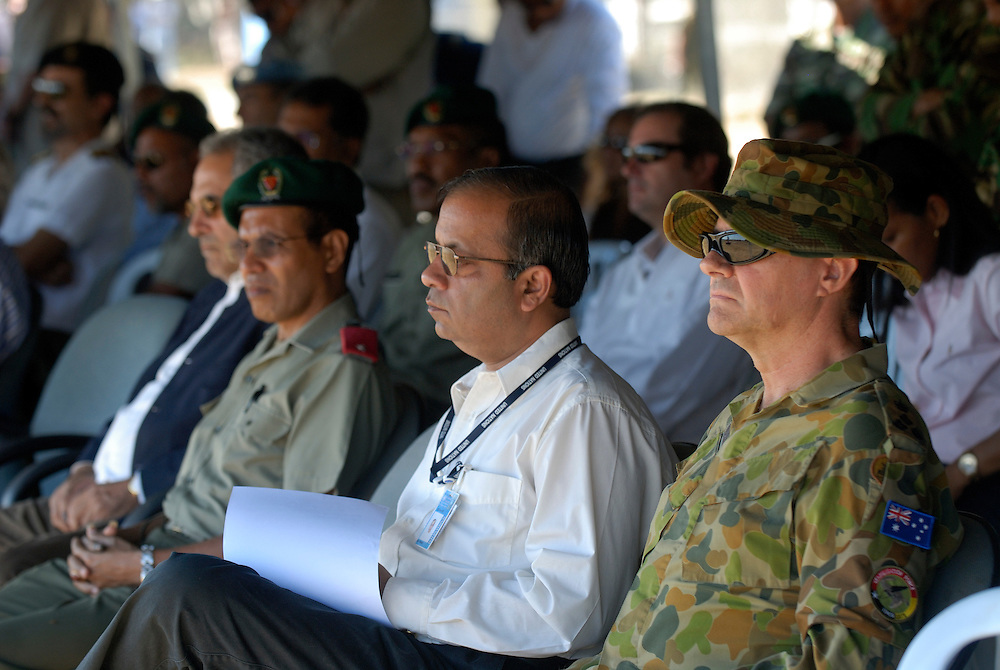 Brigadier Mal Rerden, Commander of Operation Astute, East Timor (Timor-Leste) watches the East Timorese Army put on a parade for outgoing President Xanana Gusmao.