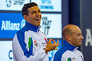 Simone Barlaam of Italy (left) and compatriot  Federico Morlacchi of Italy with their Gold Medals after a split time in the Men's 100 m Butterfly S9 during the World Para Swimming Championships 2019 Day 3 held at London Aquatics Centre, London, United Kingdom on 11 September 2019.