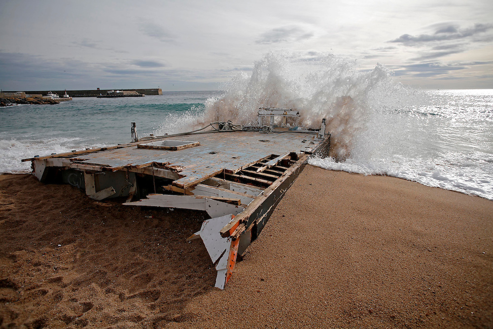 """December, 26th, 2008. Violent """"Levant"""" sea storm  hit the northeastern catalan or spanish coast  provoking a blizzard in the interior. .Blanes (Costa Brava). Catalonia. Spain."""