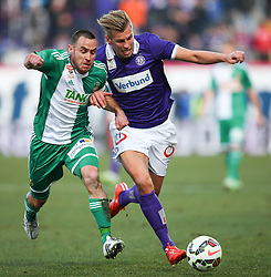 08.03.2015, Generali Arena, Wien, AUT, 1. FBL, FK Austria Wien vs SK Rapid Wien, 24. Runde, im Bild Steffen Hofmann (SK Rapid Wien) und Alexander Gruenwald (FK Austria Wien) // during Austrian Football Bundesliga Match, 24th Round, between FK Austria Vienna and SK Rapid Wien at the Generali Arena, Vienna, Austria on 2015/03/08. EXPA Pictures © 2015, PhotoCredit: EXPA/ Thomas Haumer