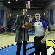 Chicago Sky Forward Elena Delle Donne and NBA D-league officials #22 Tyler Ford pose for a photo prior to a NBA D-league regular season basketball game between the Delaware 87ers and the Rio Grande Valley Vipers (Houston Rockets) Saturday, Dec. 27, 2014 at The Bob Carpenter Sports Convocation Center in Newark, DEL