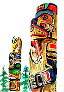 "Totem Poles. Stanley Park, Vancouver, Canada. Watercolor. 12x16"". ©JoAnn Hawkins."