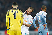 Olympique de Marseille's French forward Valere Germain talks to AS Monaco's Croatian goalkeeper Danijel Subasic during the French Championship Ligue 1 football match between Olympique de Marseille and AS Monaco on January 28, 2018 at the Orange Velodrome stadium in Marseille, France - Photo Benjamin Cremel / ProSportsImages / DPPI