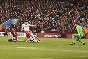Nottingham Forest midfielder Matty Cash (14) scores a goal from open play 2-3 during the EFL Sky Bet Championship match between Aston Villa and Nottingham Forest at Villa Park, Birmingham, England on 28 November 2018.