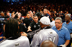 October 18, 2008; Atlantic City, NJ, USA;  A scuffle breaks out in the ring after the 12 round Light Heavyweight fight between Bernard Hopkins and Kelly Pavlik at Boardwalk Hall in Atlantic City, NJ.  Hopkins won the fight via 12 round unanimous decision.
